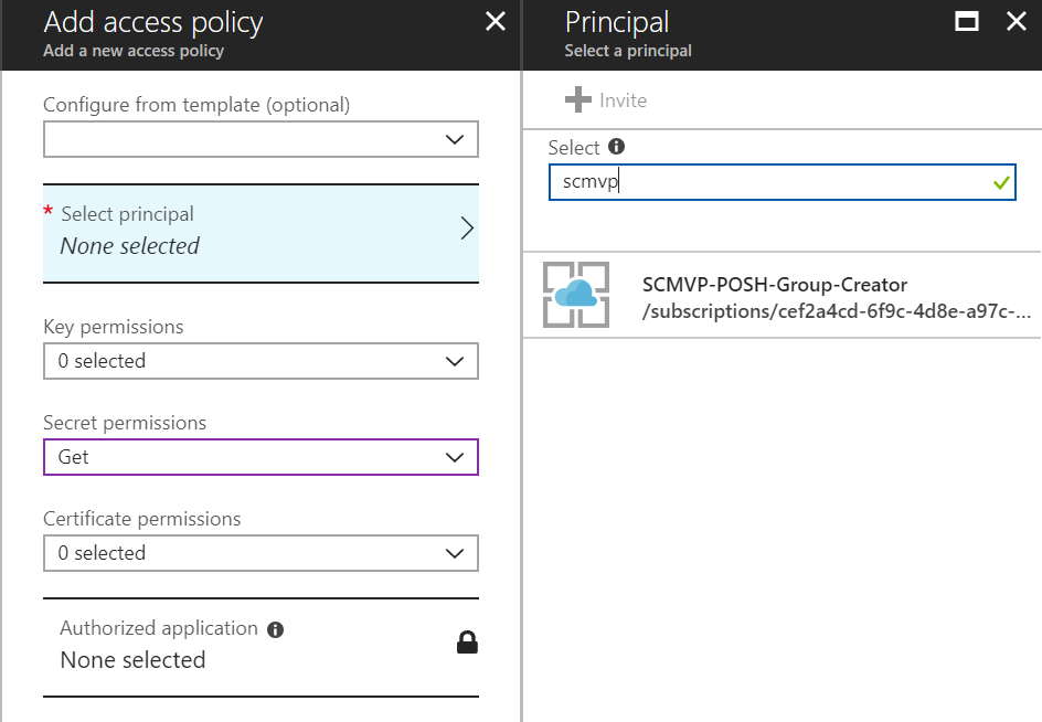 Azure KeyVault access policy